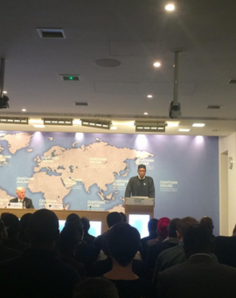 [Photos] Gen. Buhari Speaks on democracy at the Chatham house