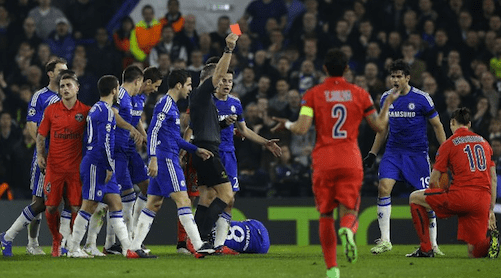 zlatan ibrahimovic red card at chelsea